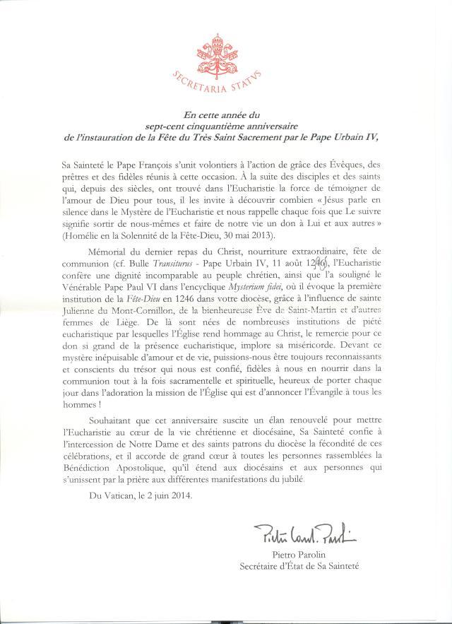 Message du Pape Fête-Dieu